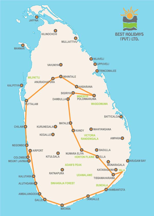 Best Sri Lanka Holidays map The Thanbapanni tour